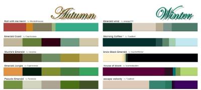 Emerald color pallets