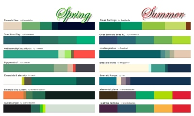 Emerald color pallets