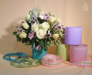 Cottage Lane Vases with Gingham Ribbon and Oasis Diamond Wire