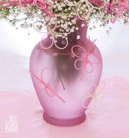 Pink Glass Arrangement Vase with Midollino Butterflies