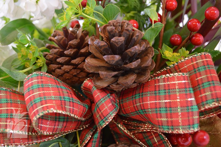 Holiday Ribbon, Pine Cones, and Berries